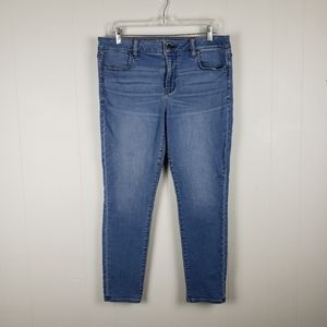AMERICAN EAGLE Super Stretch Light Wash Cropped Jegging Mid Rise Jeans Size 14